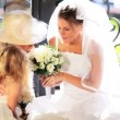 Family Portrait Bride Cute Bridesmaid and Grandmother — Stock Video