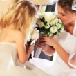 Cute Blonde Flower Girl Laughing Bride and Grandma - Zdjęcie stockowe