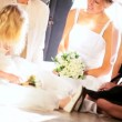 Four Female Family Members Home Wedding - Foto de Stock