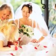 Stock Video: Cute Blonde Flower Girl Laughing Bride Family
