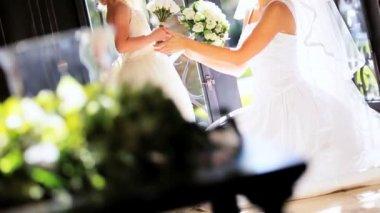 Portrait Young Bride Cute Bridesmaid — Stock Video #17452747