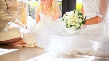 Young Bride Cute Bridesmaid Grandma Wedding Day — Stock Video