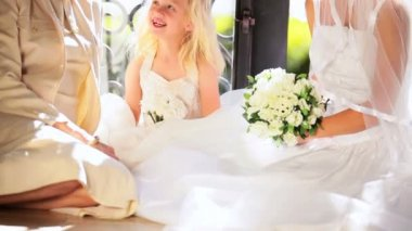 Beautiful Bride with Cute Flower Girl and Grandmother — Stock Video