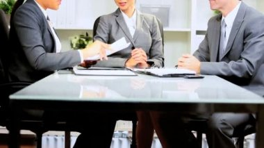 Female Asian Chinese businesswoman office meeting multi ethnic business colleagues