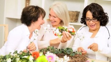 Senior Ladies Flower Arranging — Stock Video #17488637