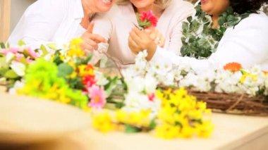 Senior Ladies Flower Arranging — Stock Video