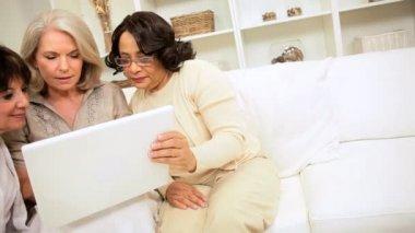 multi-etnische vrouwtjes laptopcomputer thuis — Stockvideo #17604999