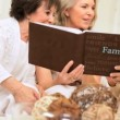 Group Retired Girlfriends Looking Photo Album — Stock Video