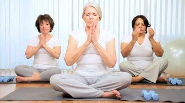 Senior Ladies Gym Yoga Class — Stock Video