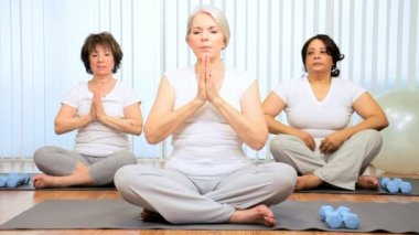 Mature Females Health Studio Yoga Exercises — Stock Video