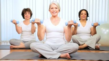 Older Female Health Club Yoga Class — Stock Video