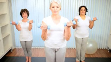Older Ladies Muscle Toning Lifting Weights — Stock Video