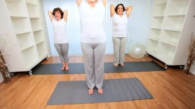 Senior Female Health Club Yoga Class — Stock Video
