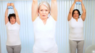 Mature group retired females using weights exercise health club