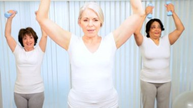 Elderly female gym members using weights yoga fitness class