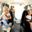 Blonde Caucasian Family Ready Car Road Trip — Stockvideo