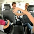 Cute Little Girls and Parents Beach Car Trip - Stok fotoğraf