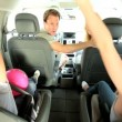 Children Parents in Family Car Ready for Car Journey — 图库视频影像