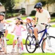 Family Healthy Cycling Outing - Stock Photo
