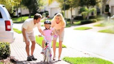 Cute Blonde Girl Practicing Bike Riding — Stock Video