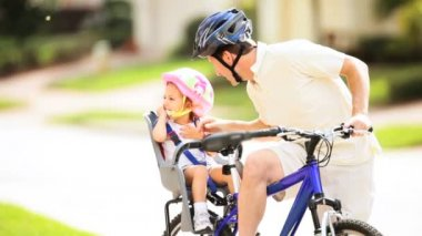 Young Father and Toddler Safety Helmets Bicycle — Stock Video