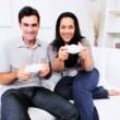 Latin American Couple Playing Games Console — Stok video