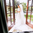 Portrait Caucasian Bride White Wedding Dress - Stok fotoğraf
