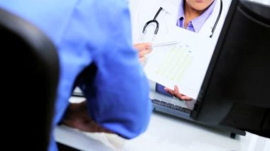 Financial Advisor Interview Female Hispanic Doctor — Stock Video