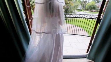 Brunette Bride in Wedding Dress — Stock Video