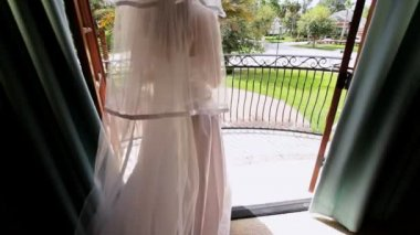 Portrait Caucasian Bride White Wedding Dress — Stock Video