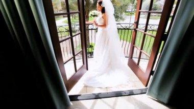 Traditional Bride Balcony Luxury Home — Stock Video