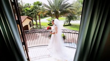 Beautiful Bride in Wedding Dress Home — Wideo stockowe
