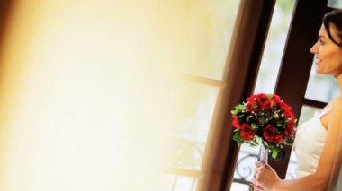Head Shoulders Caucasian Bride in Wedding Dress — Stock Video