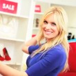 Blonde Female Shopper - Foto Stock
