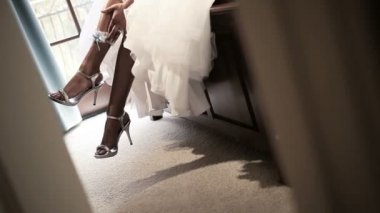 Bride Wedding Dress with Garter — Stock Video
