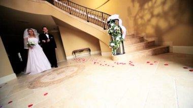Young Bride Bridegroom Marble Hallway — Stock Video