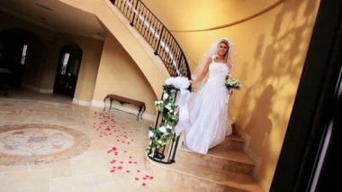 Blonde Bride Wedding Dress Descending Staircase — Stock Video