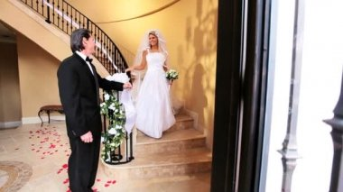 Father of Bride Watching her on Marble Staircase — Stock Video