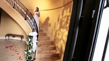 Radiant Caucasian Bride Descending Marble Staircase — Stock Video
