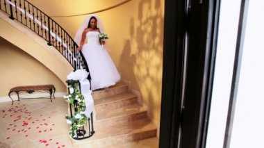 Beautiful Ethnic Bride Wedding Dress Descending Staircase — Stock Video