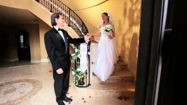 Proud Bridegroom with Bride Wedding Day — Stock Video