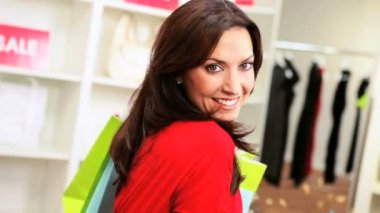 Brunette Woman Shopping Trip Bags — Stock Video
