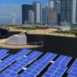 Digital CG Concept Future Solar City - Stock Photo