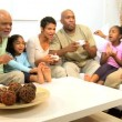 Stock Video: Extended Ethnic Family Home Games Fun