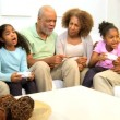 Extended African American Family Home Games Fun — Stock Video