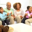 Stock Video: African American Family Home Games Entertainment