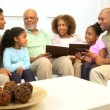 Generations Ethnic Family Looking Family Photographs — Stock Video