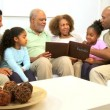 Three Generations African American Enjoying Photo Album — Stock Video