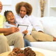 African American Grandparents Grandchild Wireless Tablet Apps — Vídeo de stock