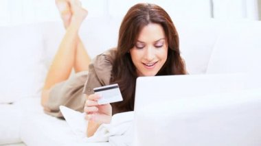 Caucasian Female Home Online Shopping — Stock Video